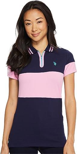 Zip Placket Stretch Pique Polo Shirt