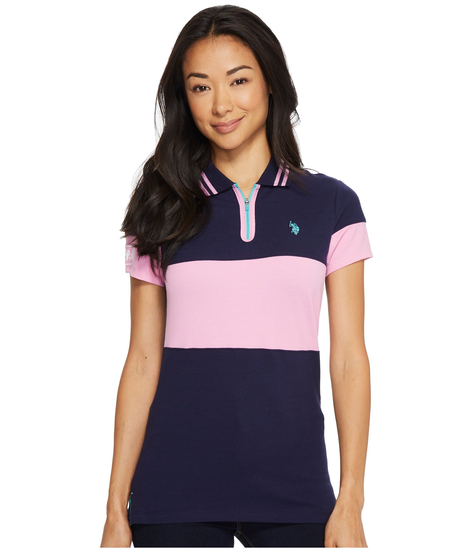 Camiseta Tipo Polo para Mujer U.S. POLO ASSN. Zip Placket Stretch Pique Polo Shirt  + U.S. POLO ASSN. en VeoyCompro.net