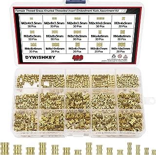 DYWISHKEY 400 Pieces M2 M3 M4 M5 Female Thread Knurled Nuts Brass Threaded Insert Embedment Nuts Assortment Kit