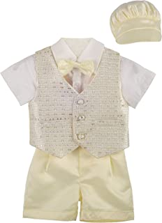 Dressy Diasy Baby Boys' Formal Suit WearWedding Outfit Baptism Christening Outfit with Bonnet