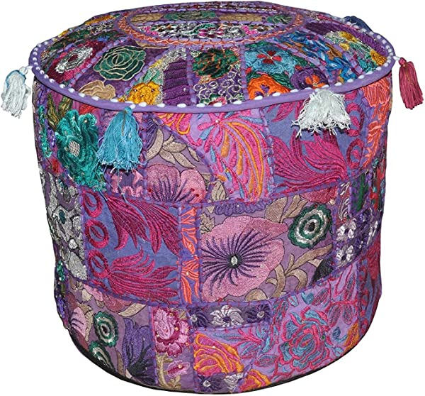Indian Embroidered Patchwork Ottoman Cover Traditional Indian Decorative Pouf Ottoman Indian Comfortable Floor Cotton Cushion Ottoman Pouf Indian Designs Ethnic Patchwork Pouf 18X13 Inch Purple