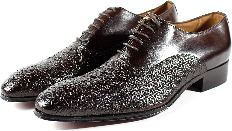 Ivan Troy Alou Men's Dress Shoes/Dote Print Shoes/Italian Men's Shoes/Men's Leather Dress Shoes/Italian Oxford Shoes/