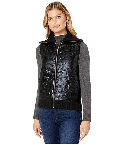 MICHAEL Michael Kors Sweater Back Puffer Vest (Black) Women