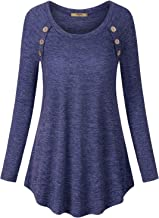 Miusey Women's Long Sleeve Scoop Neck Button Tunic Sweatshirts Loose Tee Shirts