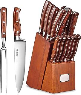 Set de Couteau de Cuisine Professionnel 16Pièces avec Bloc Couteauxen Bois, Ensemblede CouteauenAcierInoxydable ave...