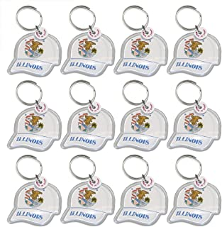 Closeoutservices Lot of 12 - Key Ring with Acrylic Fob, State Seal On Ball Cap Keychain.
