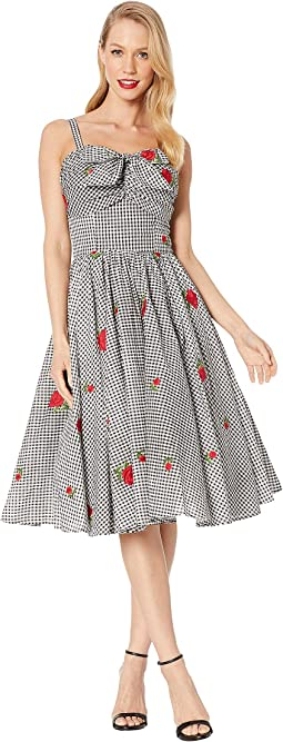 Black/White Gingham/Rose Print