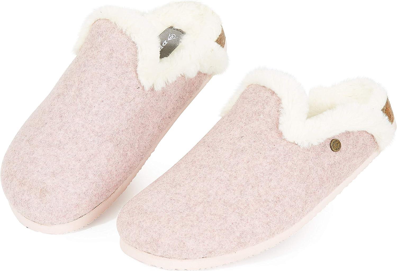 Dunlop Zapatillas Mujer, Zapatillas Casa Mujer con Forro Polar, Pantuflas Mujer Interior Extra Suave, Regalos para Mujer y Chica Adolescente Talla 36-41