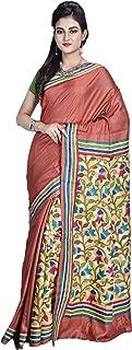 SareesofBengal Women's Handloom Kantha Stitch Tussar/Kosa Silk Saree
