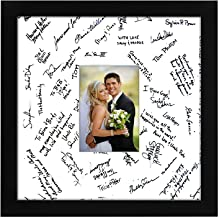 Americanflat 14x14 Inch Black Wedding Signature Picture Frame | Displays 5x7 Inch Photos. Lead Free Glass. Hanging Hardware Included!