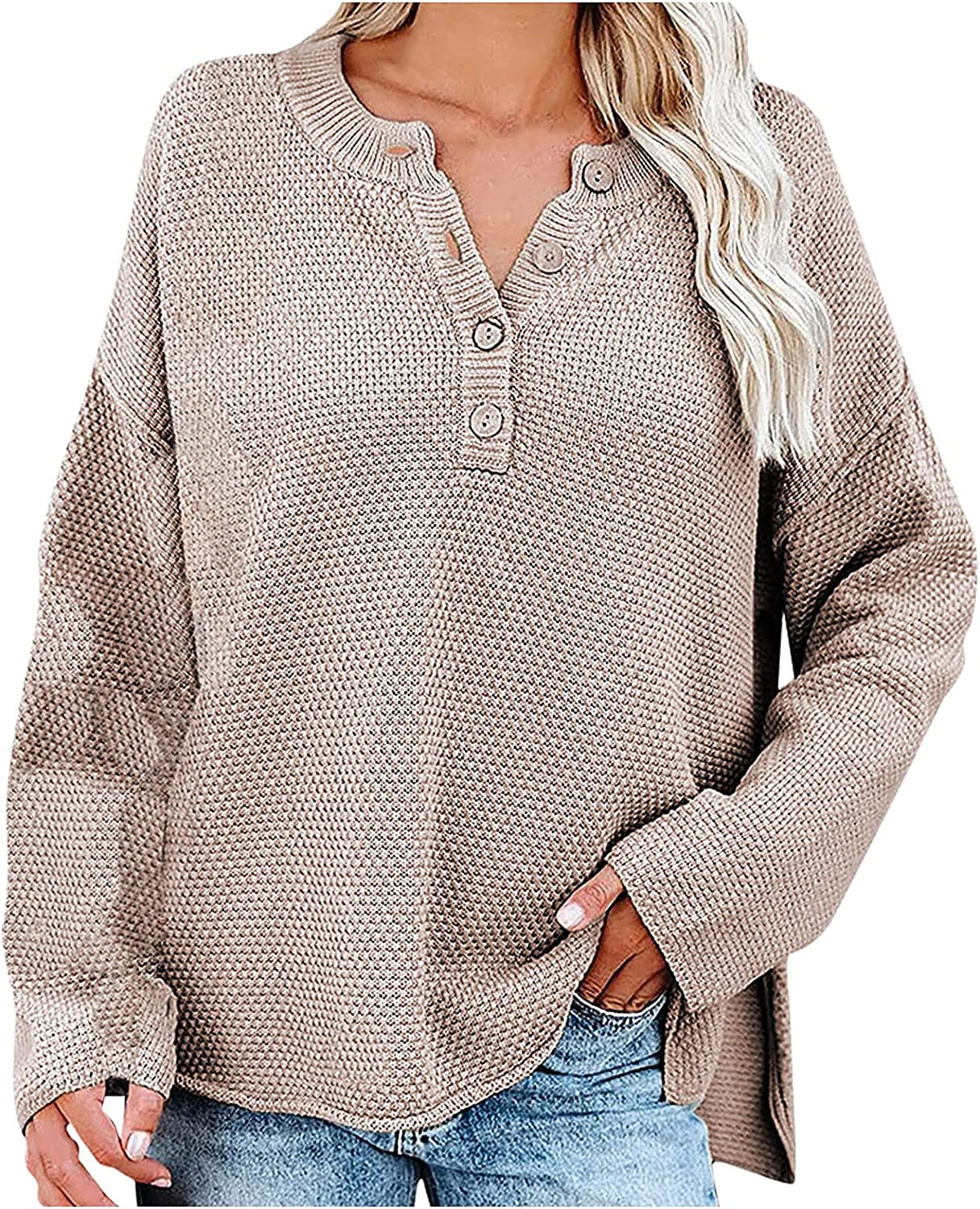 Women's Chunky Knitted Sweaters V Neck Buttons-Down Tops Cozy Loose Full Sleeve Jumper Outwears