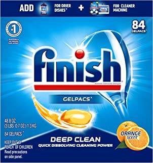 Finish All in 1 Gelpacs Orange, Dishwasher Detergent Tablets 84 count