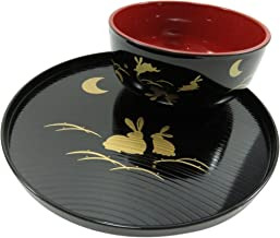 Rabbit And Half Moon Lacquer Bowl And Plate Tray Black and Red (Set of 2)