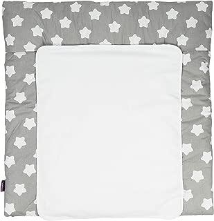 waschmaschinengeeignet weiche Wickeltischauflage f/ür Wickelkommoden Wickelunterlage aus 100/% Baumwolle mit Wolken Muster in Grau Puckdaddy Wickelauflage Clara 65x75 cm