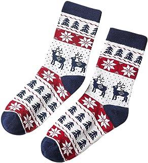 Gwxevce, Gwxevce Calcetines de algodón navideños para Padres e Hijos Calcetería con Estampado de Copo de Nieve de Alce Lindo