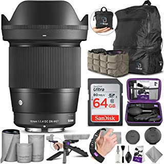 $419 » Sigma 16mm F1.4 DC DN Contemporary Lens for Sony E Mount Cameras with Altura Photo Advanced Accessory and Travel Bundle