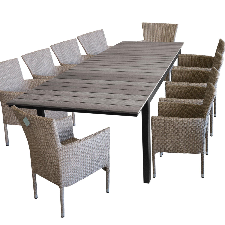 11 piezas. – Muebles de Jardín muebles de terraza y sillas para jardín – Mesa de jardín, polywood