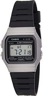 Casio Unisex-Adult Quartz Watch, Digital Display and Plastic Strap F-91WM-1BEF