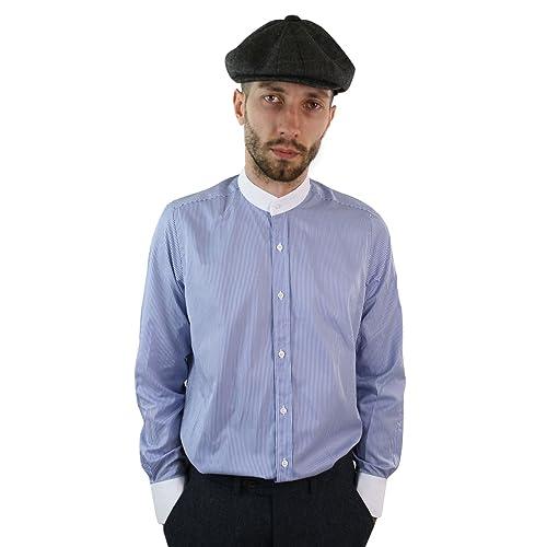 557dc65de047c2 Mens Retro Peaky Blinders Removable Collar Stripe Grandad Nehru Collarless  Shirt - Light-Blue,