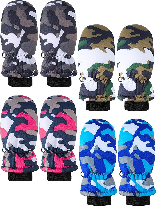 4 New Branded goods mail order Pairs Kids Ski Gloves Warm Waterproof Snow Mitte Winter
