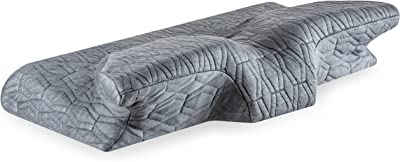 """The White Willow Cervical Contour Ergonomic Orthopedic Memory Foam Pillow for Neck & Back Pain Relief Designed for All Sleeping Positions- Side, Back, Stomach (23.5"""" L x 15"""" W x 4.5"""" H) -Grey"""