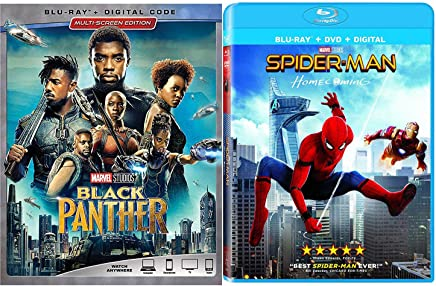 SpiderBlack Marvel Studios Amazing Spider-Man Bundle: Homecoming (Blu-ray/ Digital) Avengers Black Panther Superhero movies SET