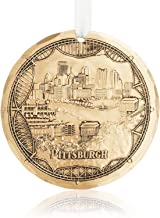 Wendell August Pittsburgh Bridges Ornament - Engraved Bronze Hand-Carved City Skyline on Pittsburgh's Three Rivers Tree Decoration - Made in USA Tree Decoration, 4.3