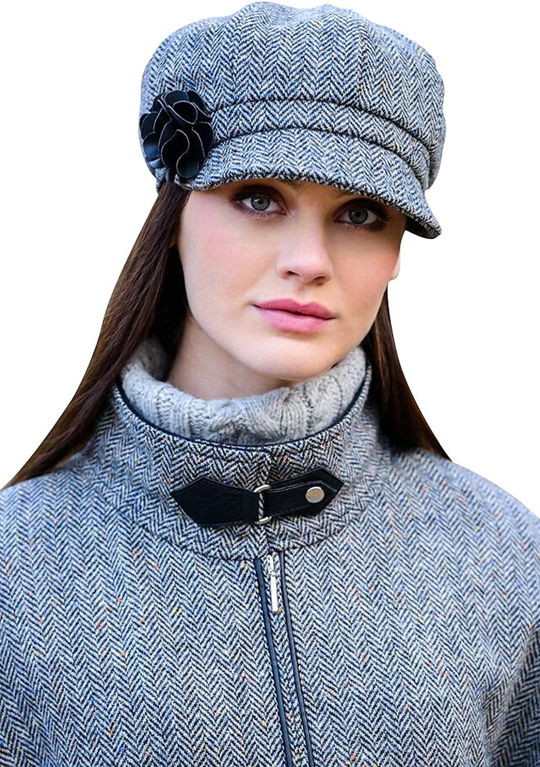 Ladies Tweed Newsboy Cap, Made in Ireland, One Size Fits All, Gr