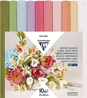 Clairefontaine 995000C Paquet de 10 Rouleaux de Papier Crépon Fleuriste 25x100cm 160g pour fabriquer des fleurs – Assortim...