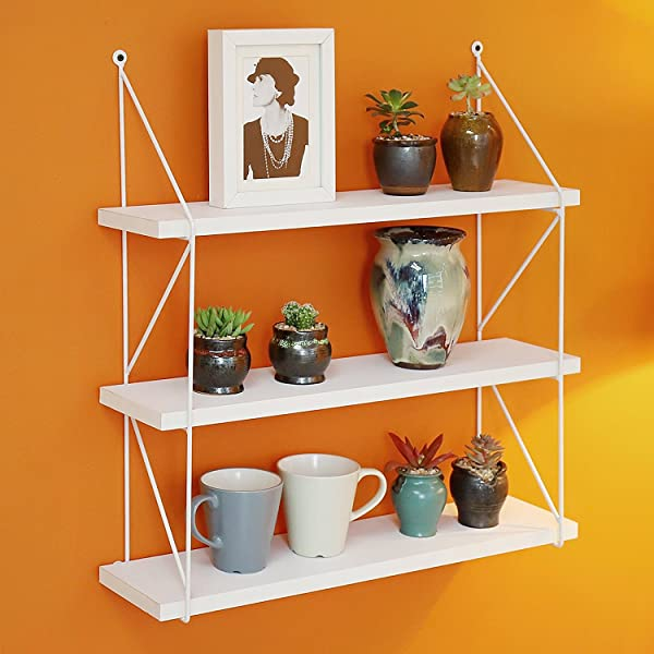 WELLAND 3 Tier Display Wall Shelf Storage Rack Wall Rack White