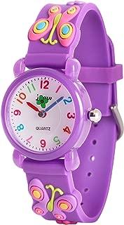 Wolfteeth Starter Watch Girls Analog Wrist Watch Water Resistant School Day Outdoor Sport Watch Butterfly Watchband 3085