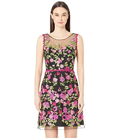 Marchesa Notte Sleeveless Embroidered Cocktail (Black) Women