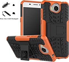 Huawei Y5/Y6 2017 case,LiuShan Shockproof Heavy Duty Combo Hybrid Rugged Dual Layer Grip Cover with Kickstand For Huawei Y5 2017/Huawei Y6 2017 Smartphone (With 4in1 Free Gift Packaged),Orange