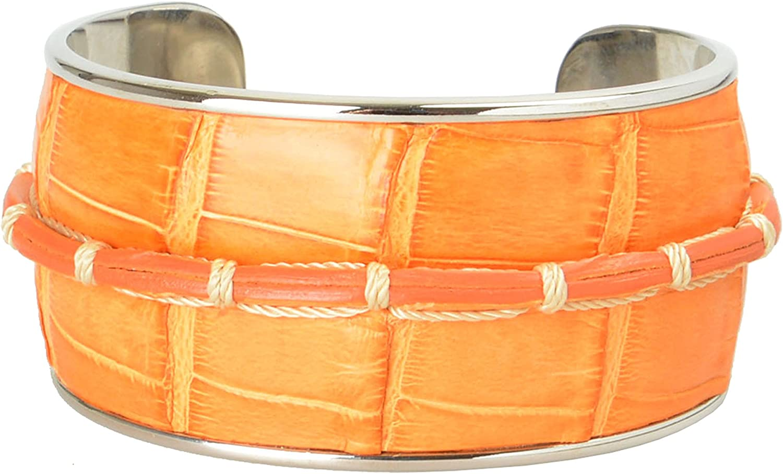 Tod's Orange Leather Metal Unisex Cuff Bracelet