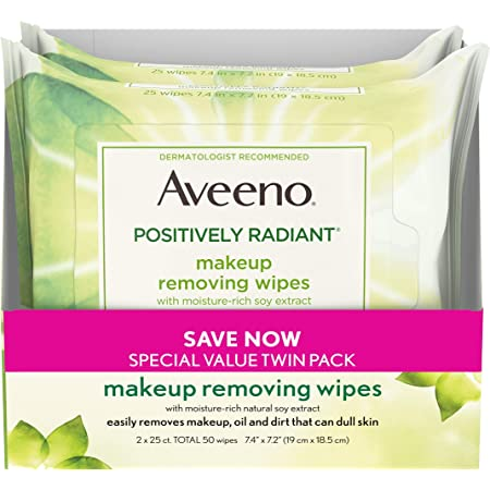 Aveeno Positively Radiant Oil-Free Makeup Removing Face Wipes to Help Even Skin Tone and Texture with Moisture-Rich Soy Extract, Gentle Facial Cleansing Wipes, Twin Pack, 2 x 25 ct.
