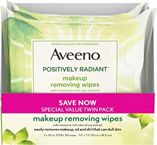 Aveeno Positively Radiant Oil-Free Makeup Removing Face Wipes to Help Even Skin Tone and Texture with Moisture-Rich Soy Ex...
