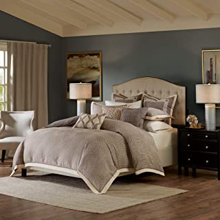 Madison Park Signature Shades Of Grey King Size Bed Comforter Duvet 2-In-1 Set Bed In A Bag - Grey , Geometric – 9 Piece B...