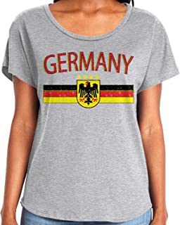 Amdesco Ladies Germany Flag and German Eagle Crest Dolman T-Shirt