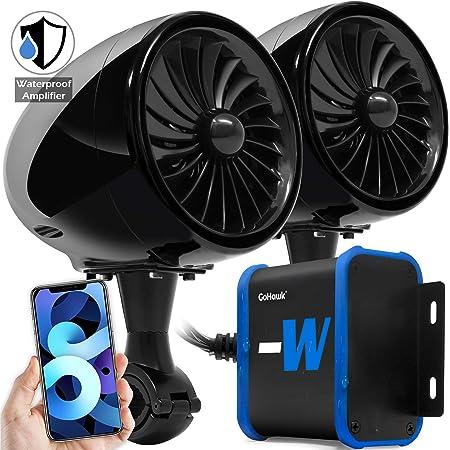 "GoHawk TJ4-W Waterproof Amplifier 4"" Full Range Bluetooth Motorcycle Stereo Speakers 1 to 1.25 in. Handlebar Mount Audio Amp System Harley Touring Cruiser ATV 4-Wheeler, USB, AUX, FM Radio"