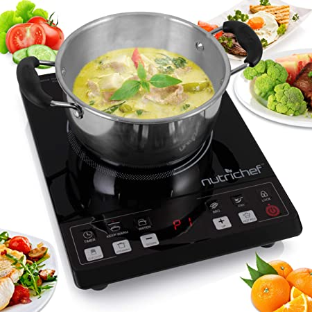 NutriChef Small Appliance Countertop Burner, Infrared Cooktop, Ceramic Cookware, Electric Stovetop, Tempered Glass, LCD Display, Keep Warm, 1200W, 120V, Black/Chrome