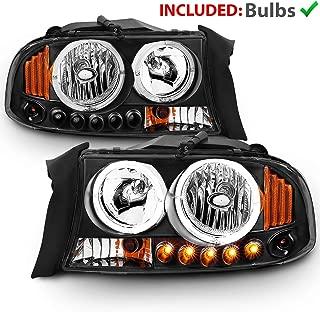 AmeriLite Black Replacement Headlight Turn Signal LED Halo 1pc for Dodge Dakota/Durango - Passenger and Driver Side