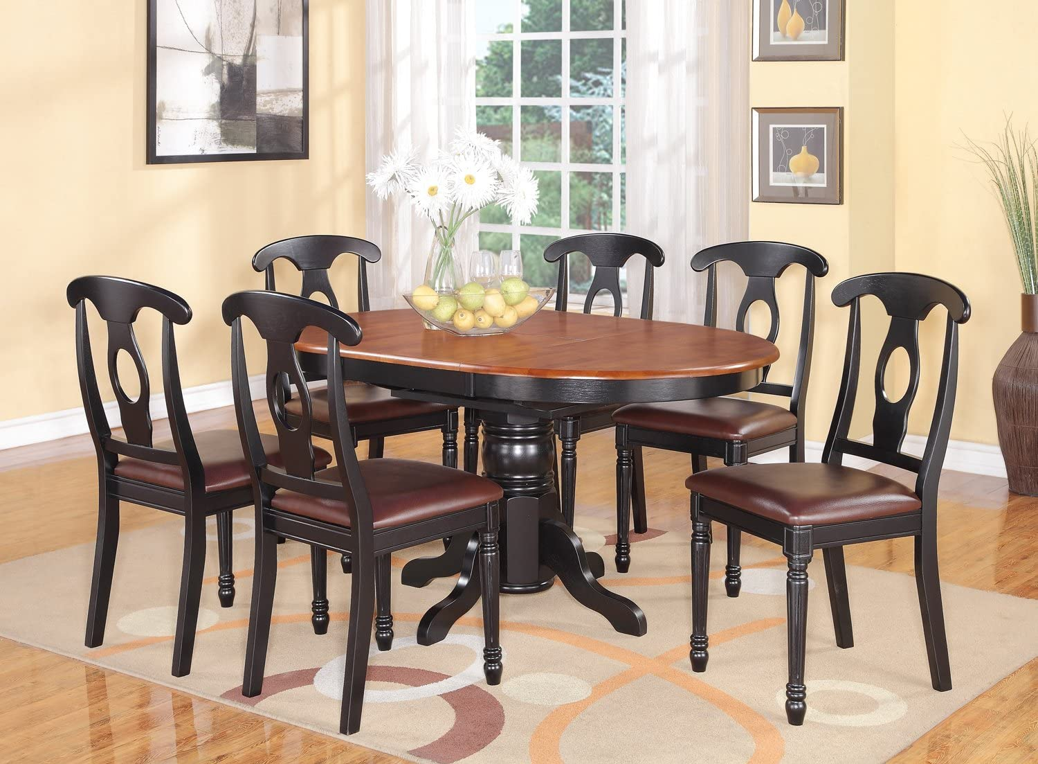 Amazon.com   9 PC with Pedestal Oval Dining Table and 9 Dining ...