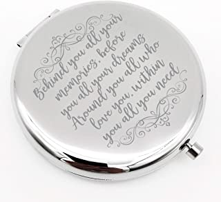 Warehouse No.9 Inspirational Personalized Travel Pocket Compact Pocket Makeup Mirror Gift for Best Friend Sister Birthday Graduation