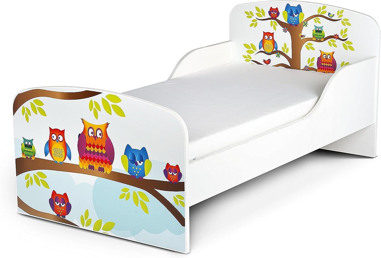 Leomark Cama Infantil Completa de Madera - Happy Owls - Marco de Cama, Colchón, Somier, Blanco Muebles para Niños, Moderno Dormitorio, Impresa ...