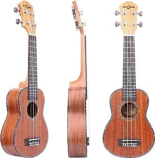 FZONE 21 Inch Mahogany Soprano Ukulele with Aquila Strings, Tortoise Style Binding, OX Bone Saddle