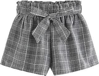 WDIRARA Women's Casual Plaid Paperbag Elastic High Waist Button Shorts