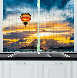 Ambesonne Skyline Decor Kitchen Curtains, Hot Air Balloon in Dusk Air over the Sea Cloudscape Sunrise Recreation Image, Window Drapes 2 Panels Set for Kitchen Cafe, 55W X 39L Inches, Blue Orange