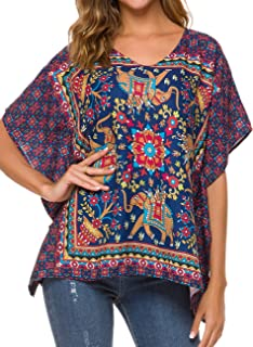 Women's Loose Casual Short Sleeve Floral Chiffon Tops T-Shirt Blouse