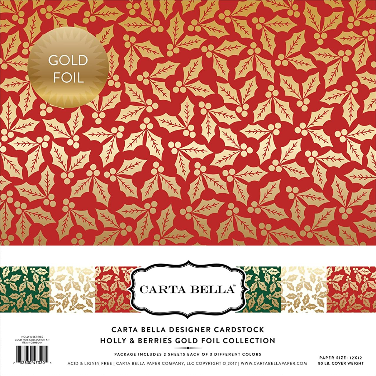 Carta Bella Paper Company Holly & Berries Gold Foil Collection Kit