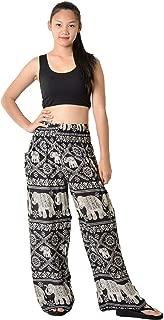 Women's Bohemian Elephant Design Yoga Wide Leg Harem Pants Medium Elephant Black